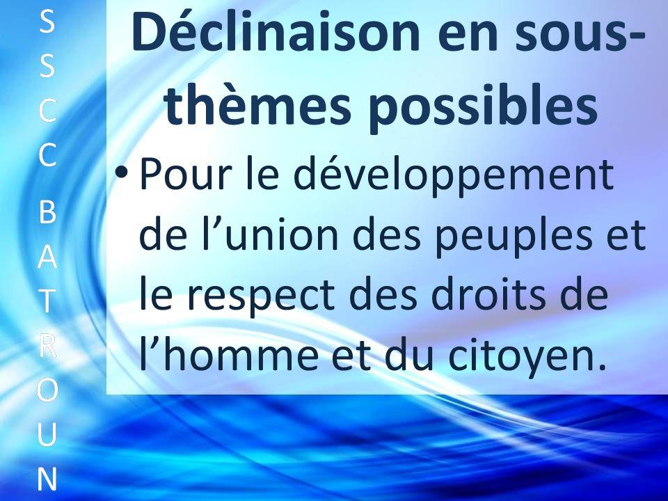 Déclinaison en sous- thèmes possibles Pour le développement de lunion des peuples et le respect des droits de lhomme et du citoyen.