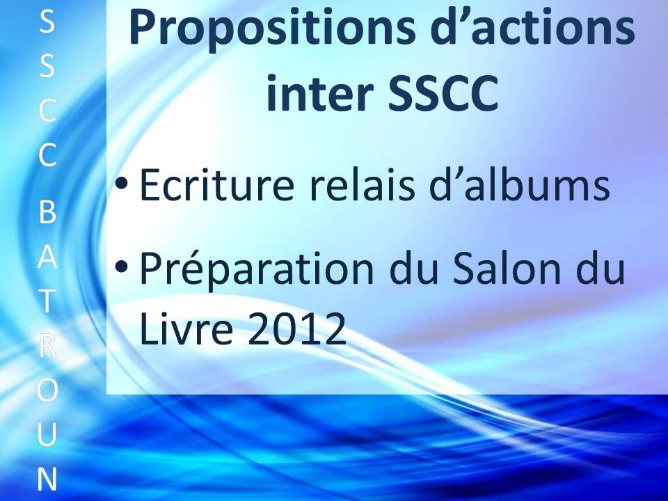 Propositions dactions inter SSCC Ecriture relais dalbums SSCC BATROUNSSCC BATROUN S S C C B A T R O U N Préparation du Salon du Livre 2012