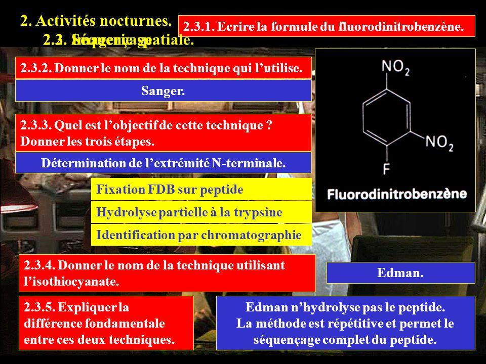 2.3.1. Ecrire la formule du fluorodinitrobenzène. Sanger. 2. Activités nocturnes. 2.2. Imagerie spatiale.2.3. Séquençage. 2.3.2. Donner le nom de la t