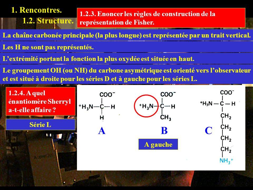 1. Rencontres. 1.2.3. Enoncer les règles de construction de la représentation de Fisher. 1.2. Structure. La chaîne carbonée principale (la plus longue