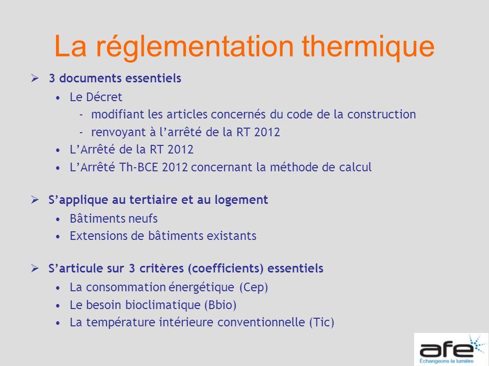 La réglementation thermique 3 documents essentiels Le Décret -modifiant les articles concernés du code de la construction -renvoyant à larrêté de la R