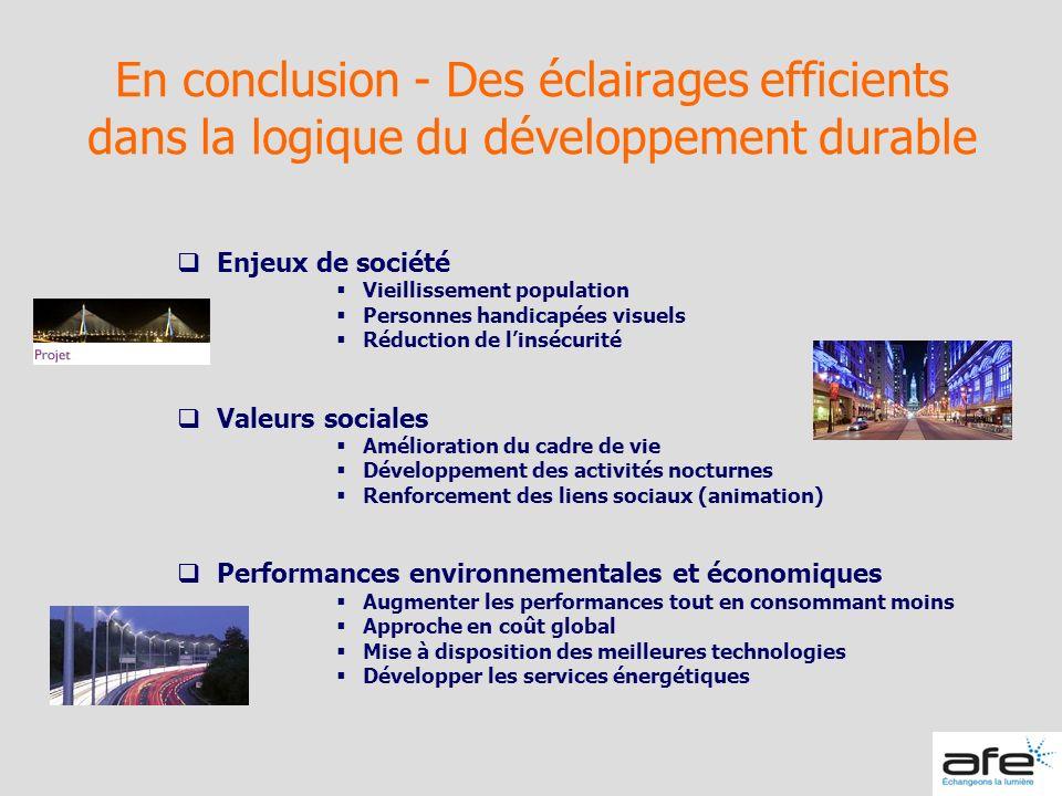 En conclusion - Des éclairages efficients dans la logique du développement durable Enjeux de société Vieillissement population Personnes handicapées v