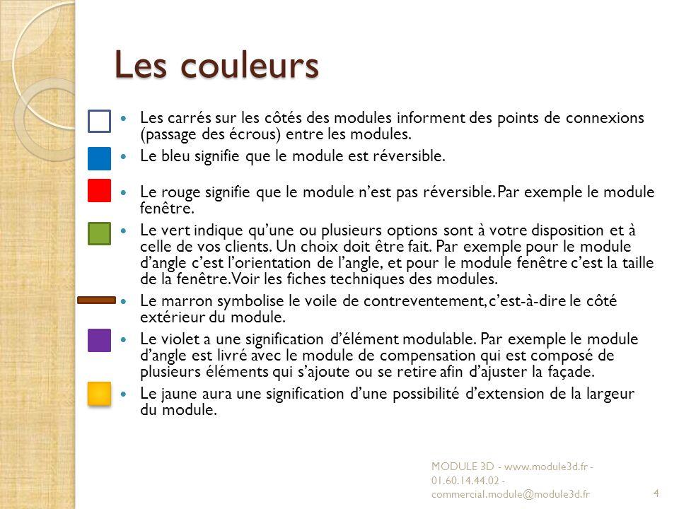 Les couleurs Les carrés sur les côtés des modules informent des points de connexions (passage des écrous) entre les modules.
