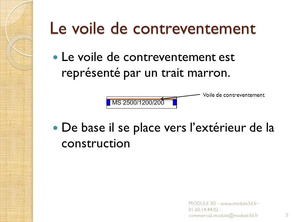 Le voile de contreventement Le voile de contreventement est représenté par un trait marron. De base il se place vers lextérieur de la construction MOD