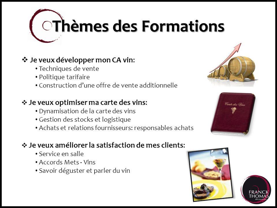 Thèmes des Formations Je veux développer mon CA vin: Techniques de vente Politique tarifaire Construction dune offre de vente additionnelle Je veux op
