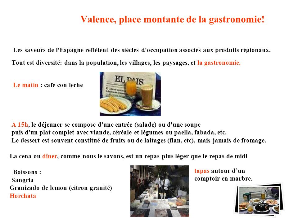 Valence, place montante de la gastronomie! Les saveurs de l'Espagne reflètent des siècles d'occupation associés aux produits régionaux. Tout est diver