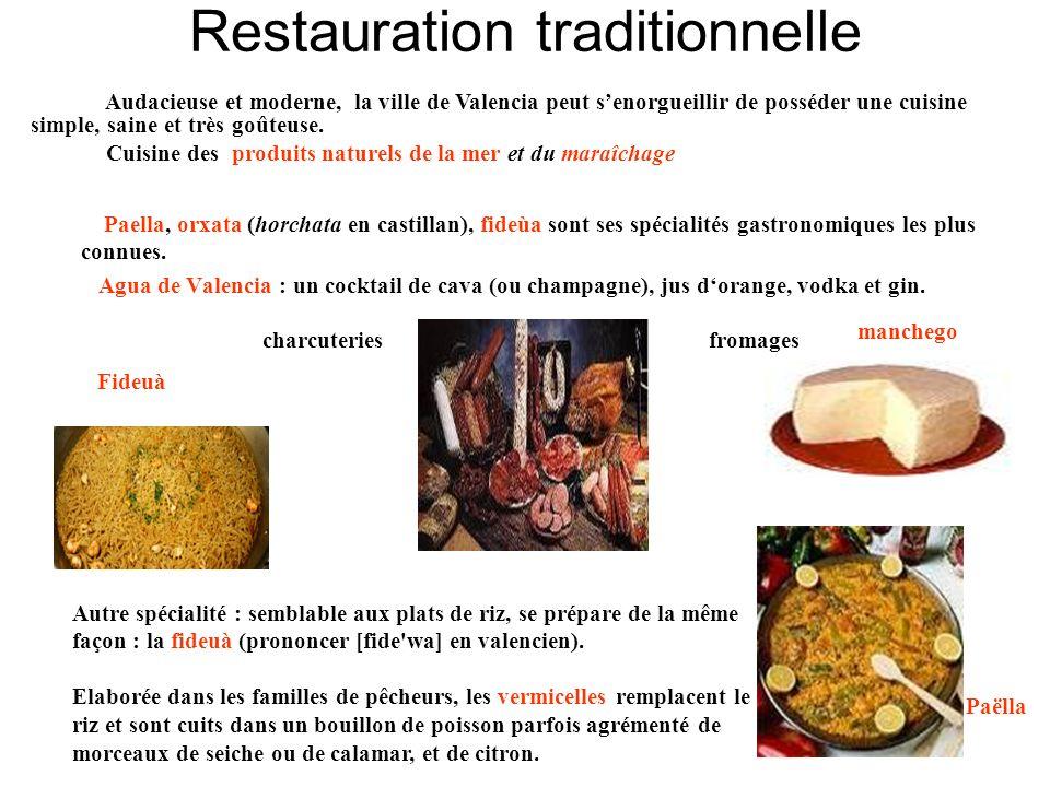 Restauration traditionnelle Paella, orxata (horchata en castillan), fideùa sont ses spécialités gastronomiques les plus connues. Agua de Valencia : un