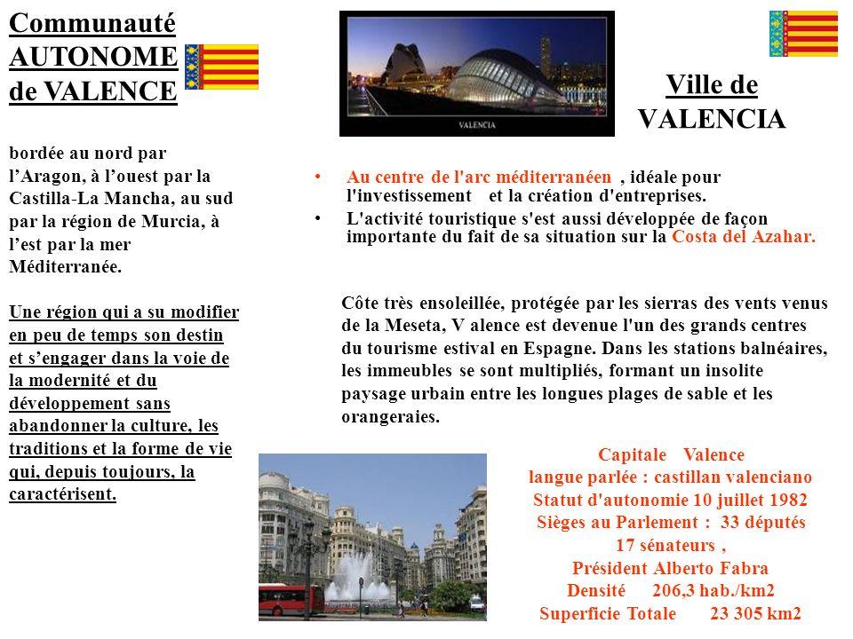 Ville de VALENCIA Capitale Valence langue parlée : castillan valenciano Statut d'autonomie 10 juillet 1982 Sièges au Parlement : 33 députés 17 sénateu