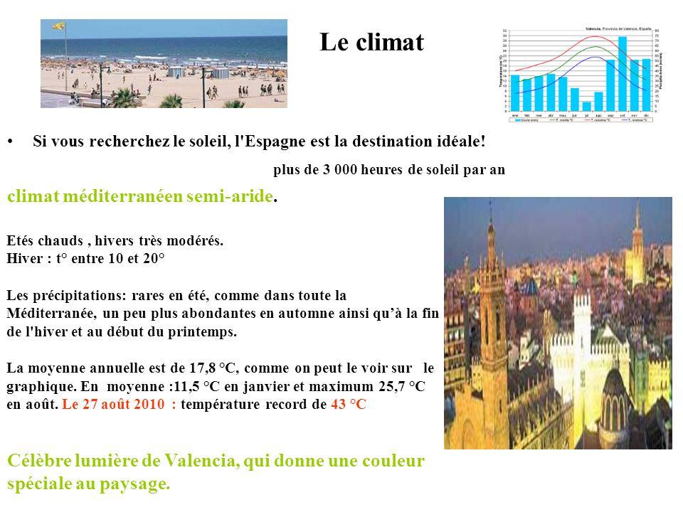 Le climat Si vous recherchez le soleil, l Espagne est la destination idéale.