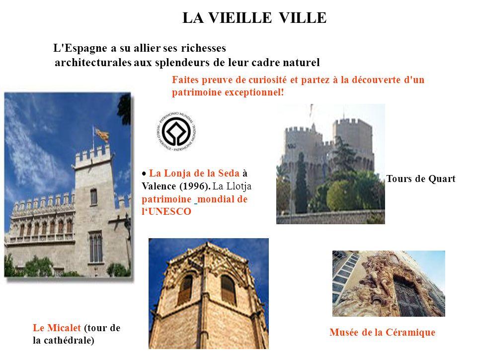 LA VIEILLE VILLE La Lonja de la Seda à Valence (1996). La Llotja patrimoine mondial de lUNESCO Tours de Quart Le Micalet (tour de la cathédrale) Faite