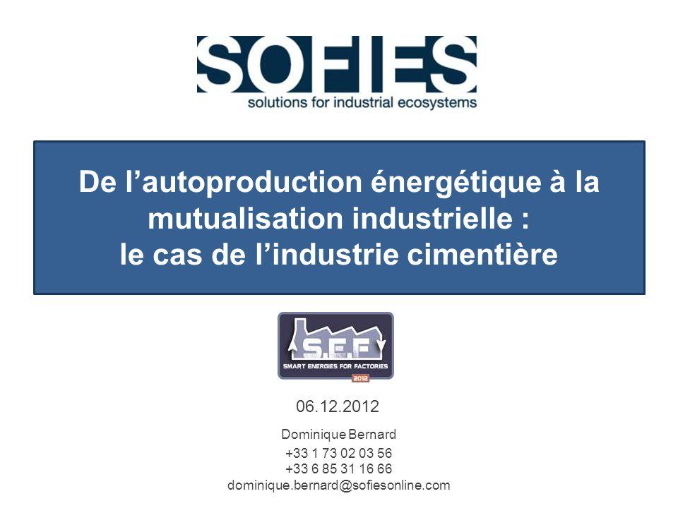 De lautoproduction énergétique à la mutualisation industrielle : le cas de lindustrie cimentière 06.12.2012 Dominique Bernard +33 1 73 02 03 56 +33 6