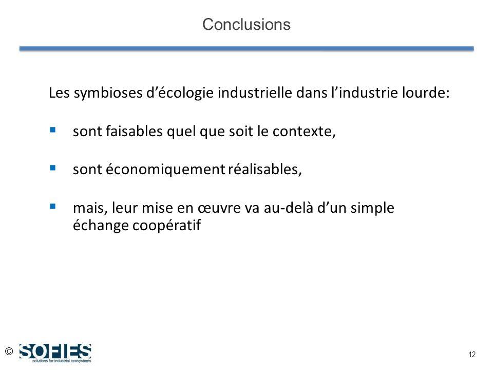 © 12 Conclusions Les symbioses décologie industrielle dans lindustrie lourde: sont faisables quel que soit le contexte, sont économiquement réalisable