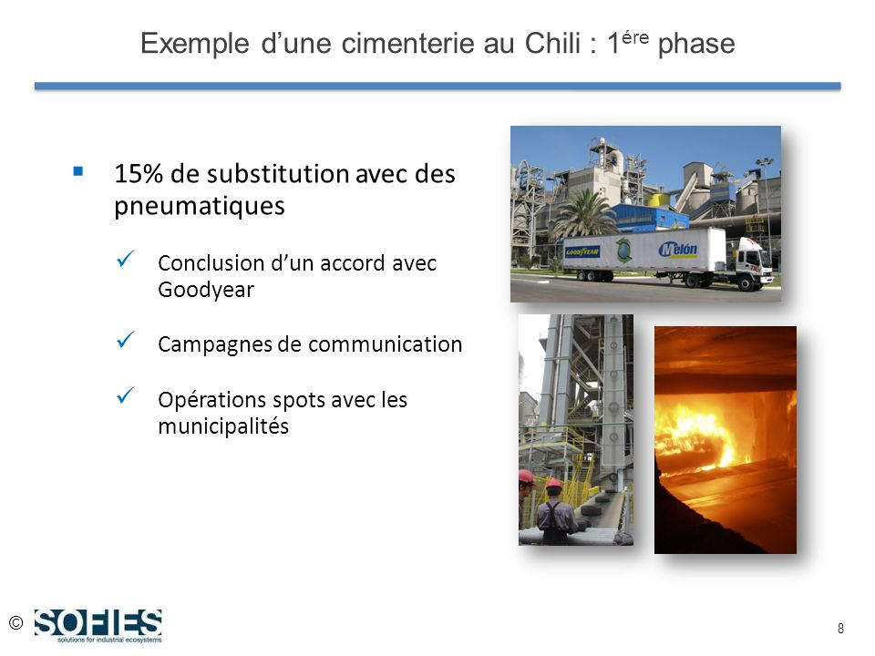 © 8 Exemple dune cimenterie au Chili : 1 ére phase 15% de substitution avec des pneumatiques Conclusion dun accord avec Goodyear Campagnes de communication Opérations spots avec les municipalités