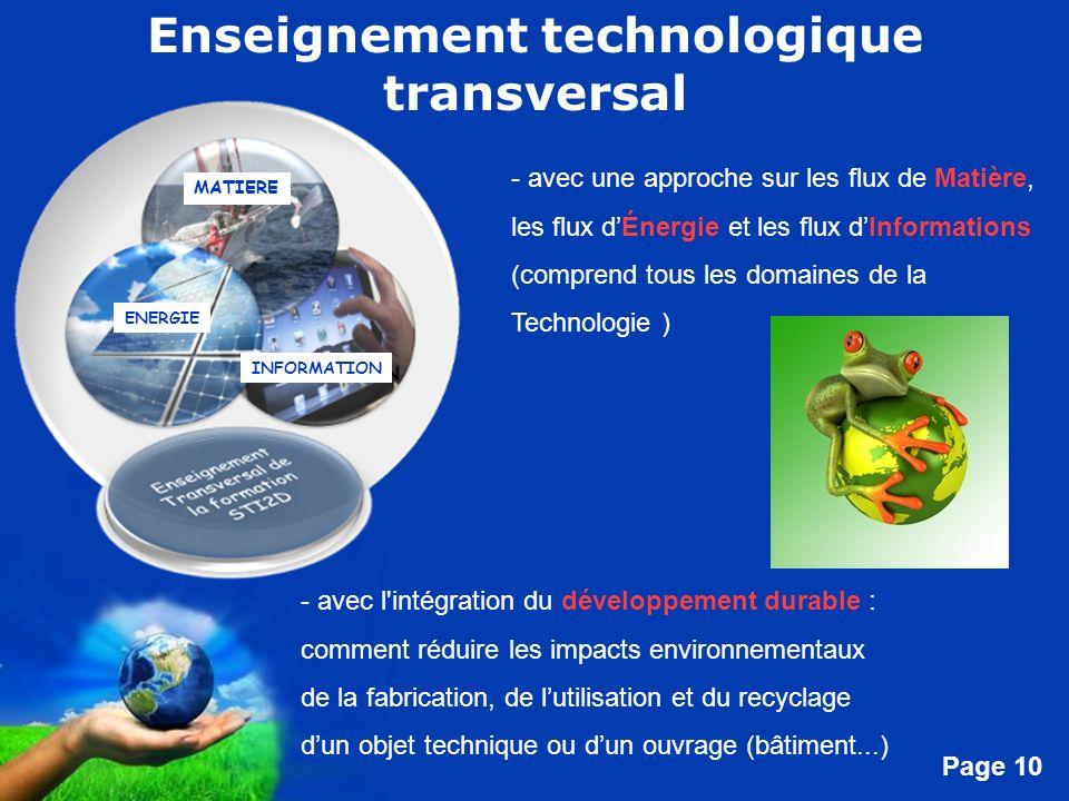 Free Powerpoint Templates Page 10 Enseignement technologique transversal - avec l'intégration du développement durable : comment réduire les impacts e