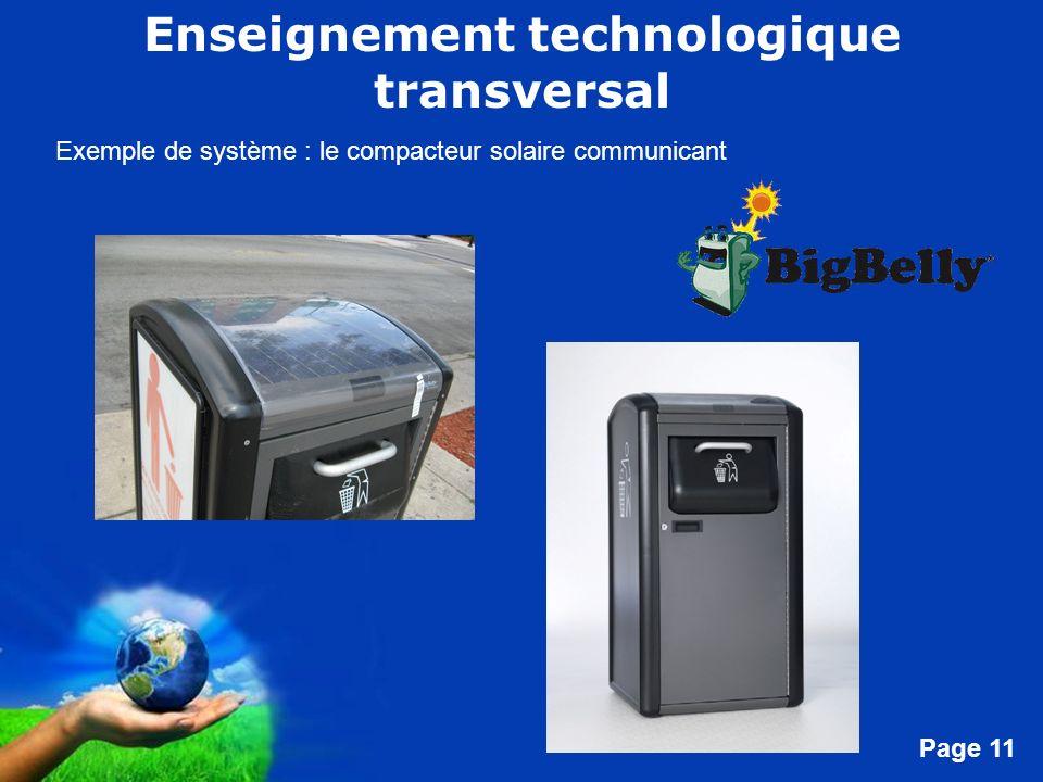 Free Powerpoint Templates Page 11 Enseignement technologique transversal Exemple de système : le compacteur solaire communicant