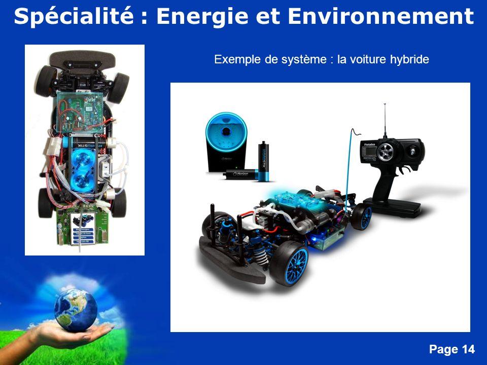 Free Powerpoint Templates Page 14 Exemple de système : la voiture hybride Spécialité : Energie et Environnement