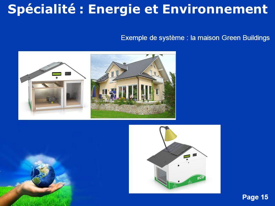 Free Powerpoint Templates Page 15 Exemple de système : la maison Green Buildings Spécialité : Energie et Environnement