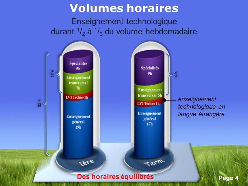 Page 4 enseignement technologique en langue étrangère Des horaires équilibrés Volumes horaires Enseignement technologique durant 1 / 2 à 1 / 3 du volu