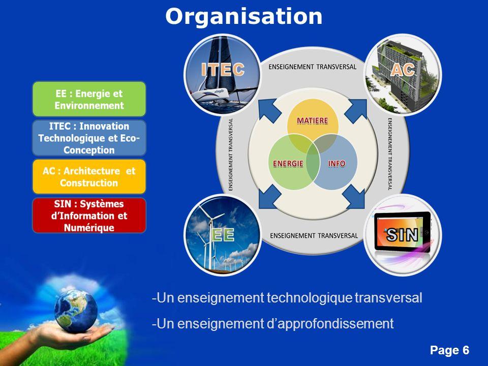 Free Powerpoint Templates Page 6 -Un enseignement technologique transversal -Un enseignement dapprofondissement Organisation