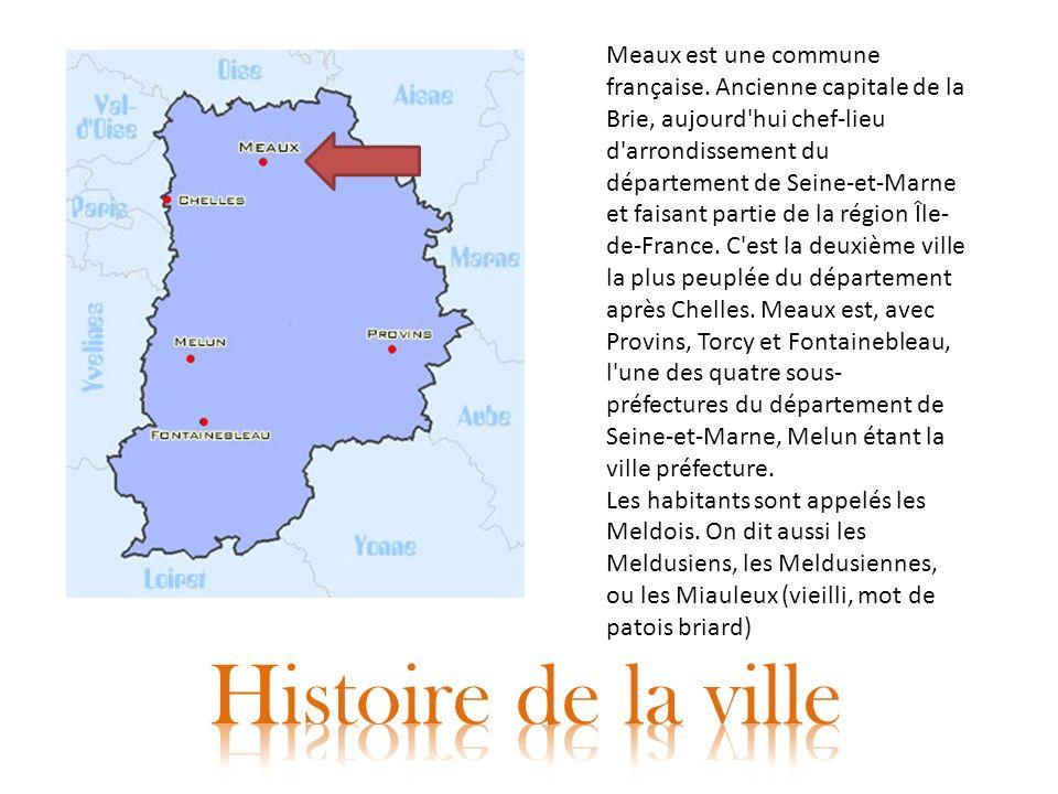 Meaux est une commune française. Ancienne capitale de la Brie, aujourd'hui chef-lieu d'arrondissement du département de Seine-et-Marne et faisant part