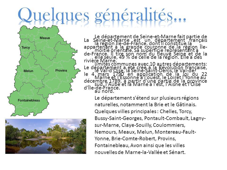 La Seine-et-Marne est un département français appartenant à la grande couronne de la région Île- de-France. Il tire son nom du fleuve Seine et de la r