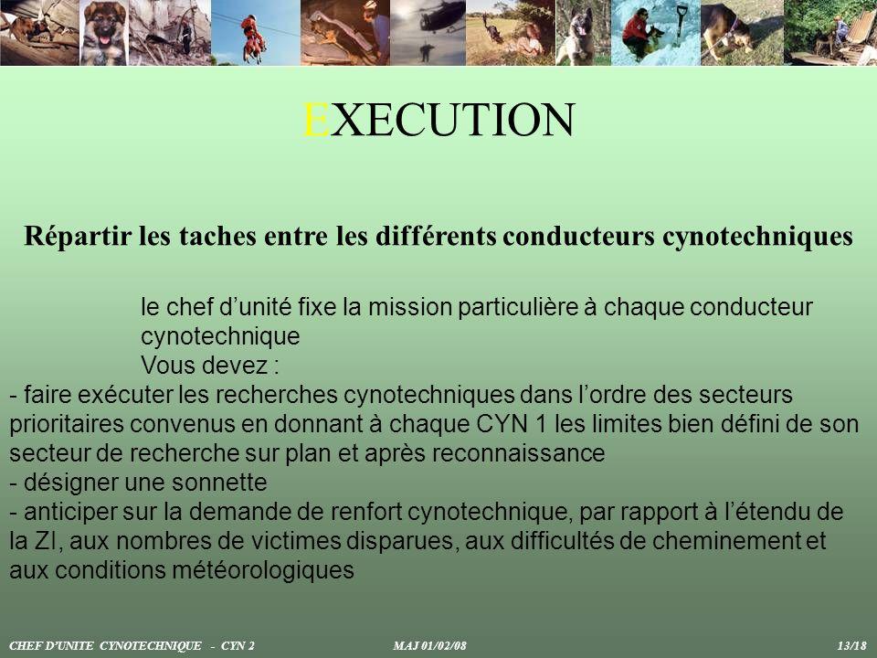 EXECUTION Répartir les taches entre les différents conducteurs cynotechniques CHEF DUNITE CYNOTECHNIQUE - CYN 2 MAJ 01/02/08 13/18 le chef dunité fixe