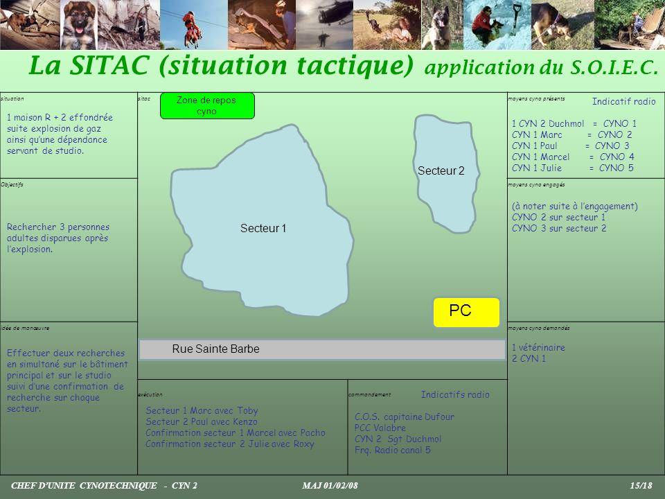La SITAC (situation tactique) application du S.O.I.E.C. CHEF DUNITE CYNOTECHNIQUE - CYN 2 MAJ 01/02/08 15/18 situation sitac moyens cyno présents Obje