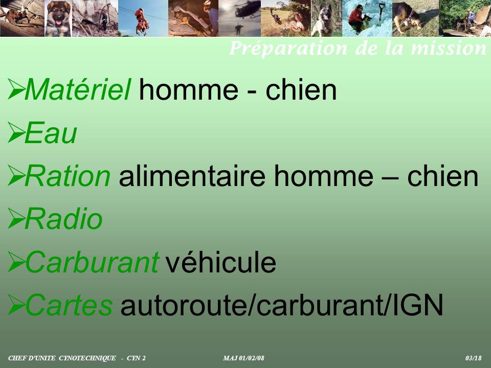 Direction Point à atteindre Itinéraire Formation Message de départ au CODIS Ordre de mouvement CHEF DUNITE CYNOTECHNIQUE - CYN 2 MAJ 01/02/08 04/18