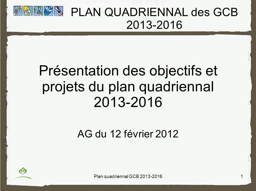 PLAN QUADRIENNAL des GCB 2013-2016 Présentation des objectifs et projets du plan quadriennal 2013-2016 AG du 12 février 2012 Plan quadriennal GCB 2013-20161