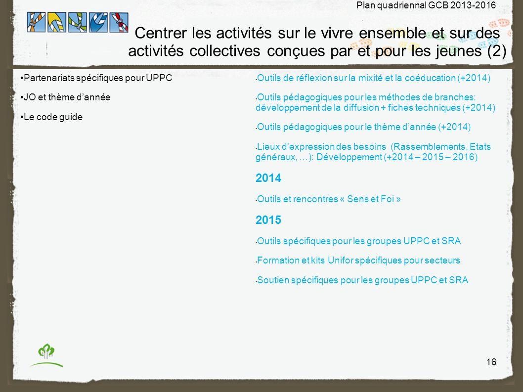 Centrer les activités sur le vivre ensemble et sur des activités collectives conçues par et pour les jeunes (2) Partenariats spécifiques pour UPPC JO et thème dannée Le code guide Outils de réflexion sur la mixité et la coéducation (+2014) Outils pédagogiques pour les méthodes de branches: développement de la diffusion + fiches techniques (+2014) Outils pédagogiques pour le thème dannée (+2014) Lieux dexpression des besoins (Rassemblements, Etats généraux, …): Développement (+2014 – 2015 – 2016) 2014 Outils et rencontres « Sens et Foi » 2015 Outils spécifiques pour les groupes UPPC et SRA Formation et kits Unifor spécifiques pour secteurs Soutien spécifiques pour les groupes UPPC et SRA 16 Plan quadriennal GCB 2013-2016