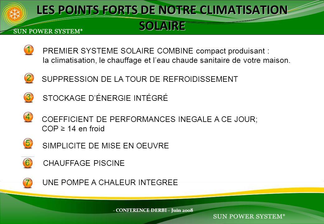 - CONFERENCE DERBI – Juin 2008 LES POINTS FORTS DE NOTRE CLIMATISATION SOLAIRE PREMIER SYSTEME SOLAIRE COMBINE compact produisant : la climatisation,