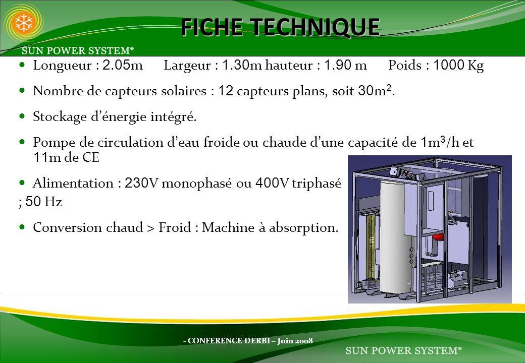 - CONFERENCE DERBI – Juin 2008 Longueur : 2.05 mLargeur : 1.30 m hauteur : 1.90 m Poids : 1000 Kg Nombre de capteurs solaires : 12 capteurs plans, soi