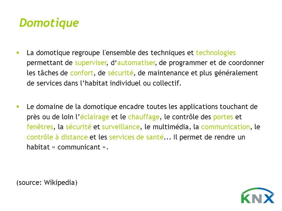 Domotique La domotique regroupe l'ensemble des techniques et technologies permettant de superviser, dautomatiser, de programmer et de coordonner les t
