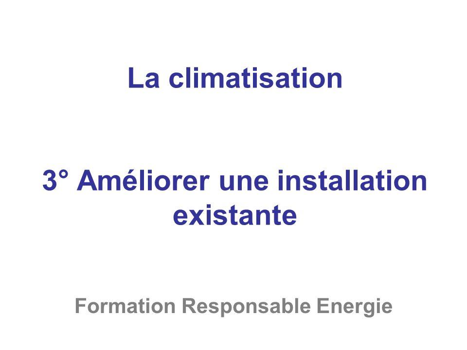 La climatisation 3° Améliorer une installation existante Formation Responsable Energie