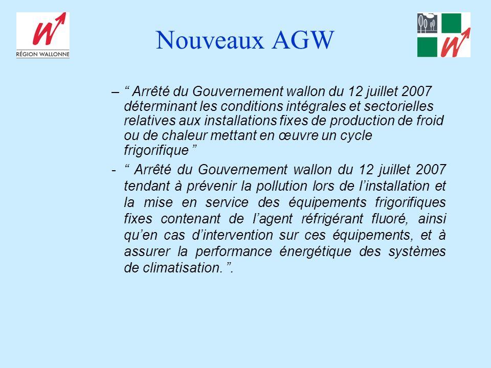 Nouveaux AGW – Arrêté du Gouvernement wallon du 12 juillet 2007 déterminant les conditions intégrales et sectorielles relatives aux installations fixe