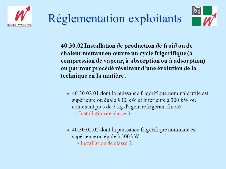 Réglementation exploitants –40.30.02 Installation de production de froid ou de chaleur mettant en œuvre un cycle frigorifique (à compression de vapeur, à absorption ou à adsorption) ou par tout procédé résultant d une évolution de la technique en la matière : »40.30.02.01 dont la puissance frigorifique nominale utile est supérieure ou égale à 12 kW et inférieure à 300 kW ou contenant plus de 3 kg d agent réfrigérant fluoré Installation de classe 3 »40.30.02.02 dont la puissance frigorifique nominale est supérieure ou égale à 300 kW Installation de classe 2