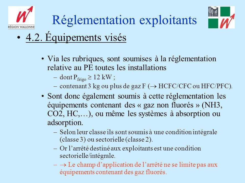 Réglementation exploitants 4.2. Équipements visés Via les rubriques, sont soumises à la réglementation relative au PE toutes les installations –dont P