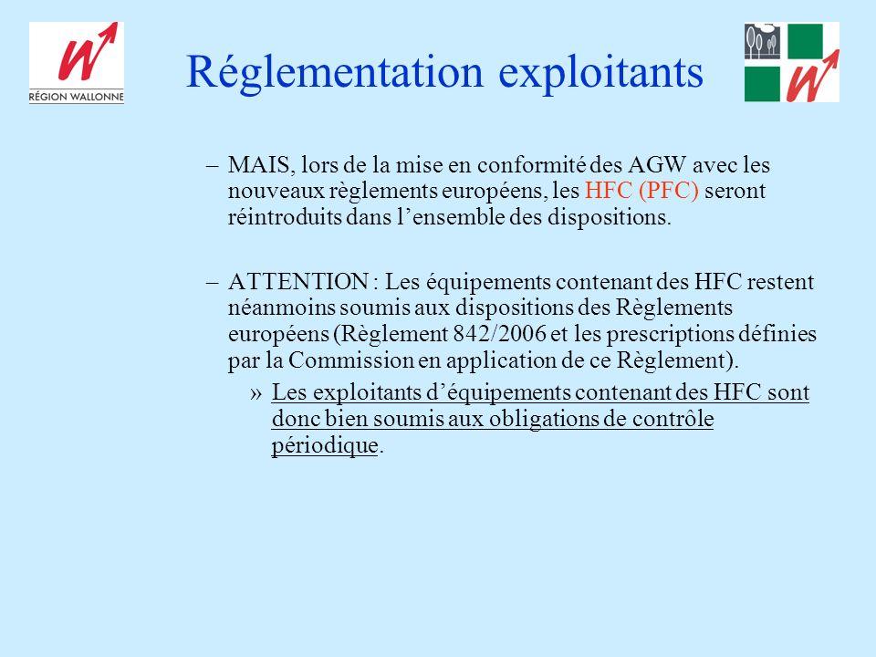 Réglementation exploitants –MAIS, lors de la mise en conformité des AGW avec les nouveaux règlements européens, les HFC (PFC) seront réintroduits dans