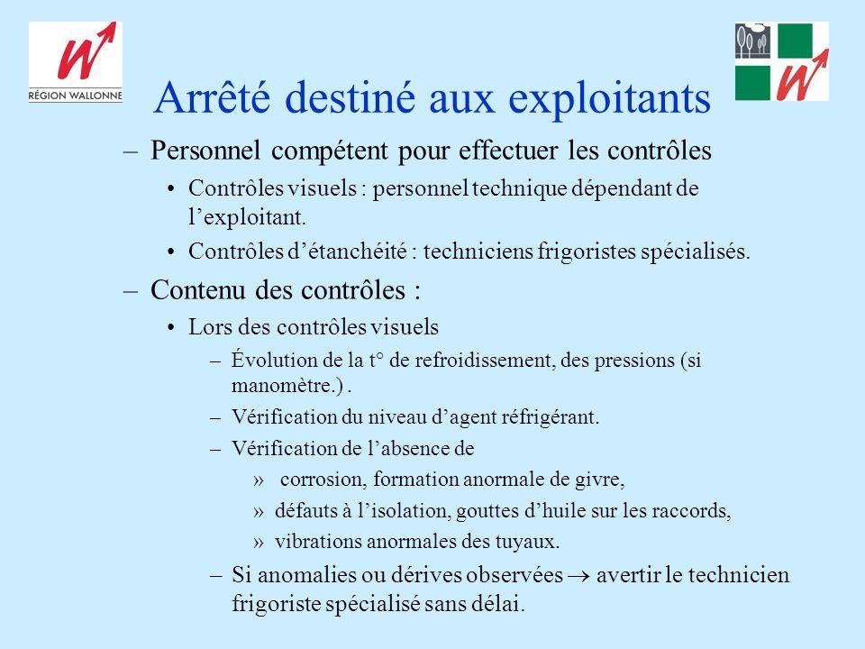 Arrêté destiné aux exploitants –Personnel compétent pour effectuer les contrôles Contrôles visuels : personnel technique dépendant de lexploitant.