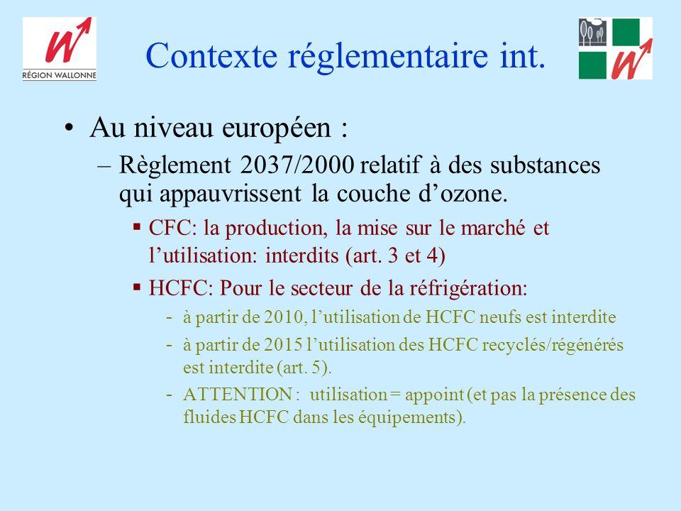 Contexte réglementaire int. Au niveau européen : –Règlement 2037/2000 relatif à des substances qui appauvrissent la couche dozone. CFC: la production,
