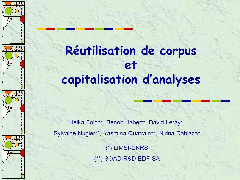 Réutilisation de corpus et capitalisation danalyses Helka Folch*, Benoit Habert*, David Leray*, Sylvaine Nugier**, Yasmina Quatrain**, Nirina Rabiaza* (*) LIMSI-CNRS (**) SOAD-R&D-EDF SA