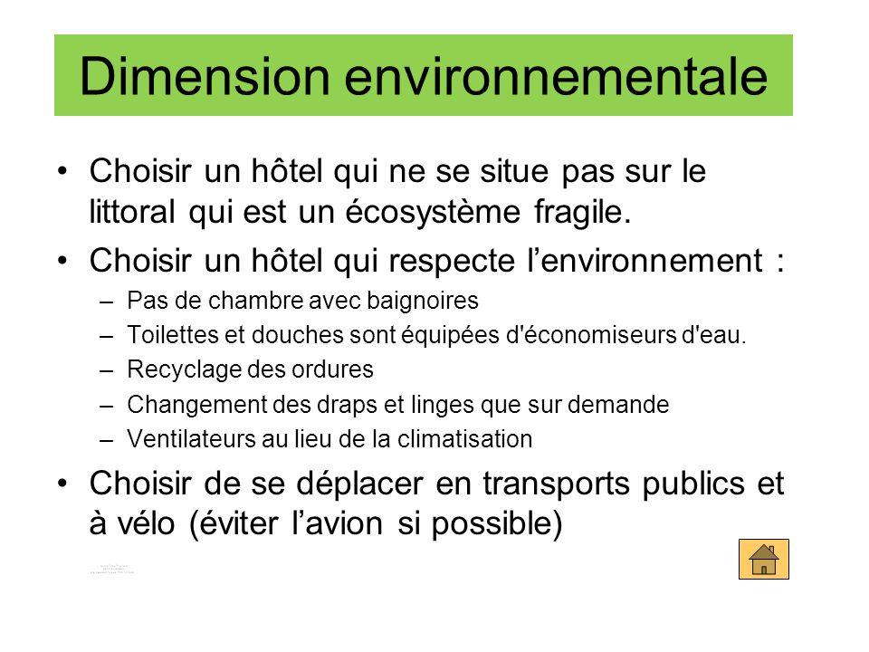 Choisir un hôtel qui ne se situe pas sur le littoral qui est un écosystème fragile. Choisir un hôtel qui respecte lenvironnement : –Pas de chambre ave