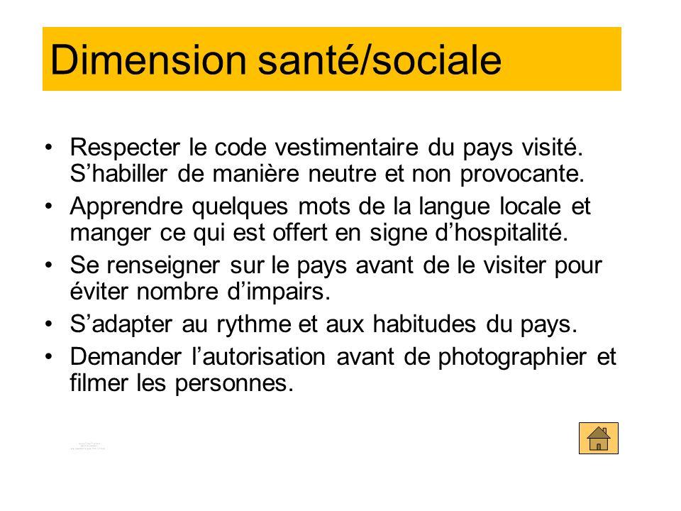 Dimension santé/sociale Respecter le code vestimentaire du pays visité.