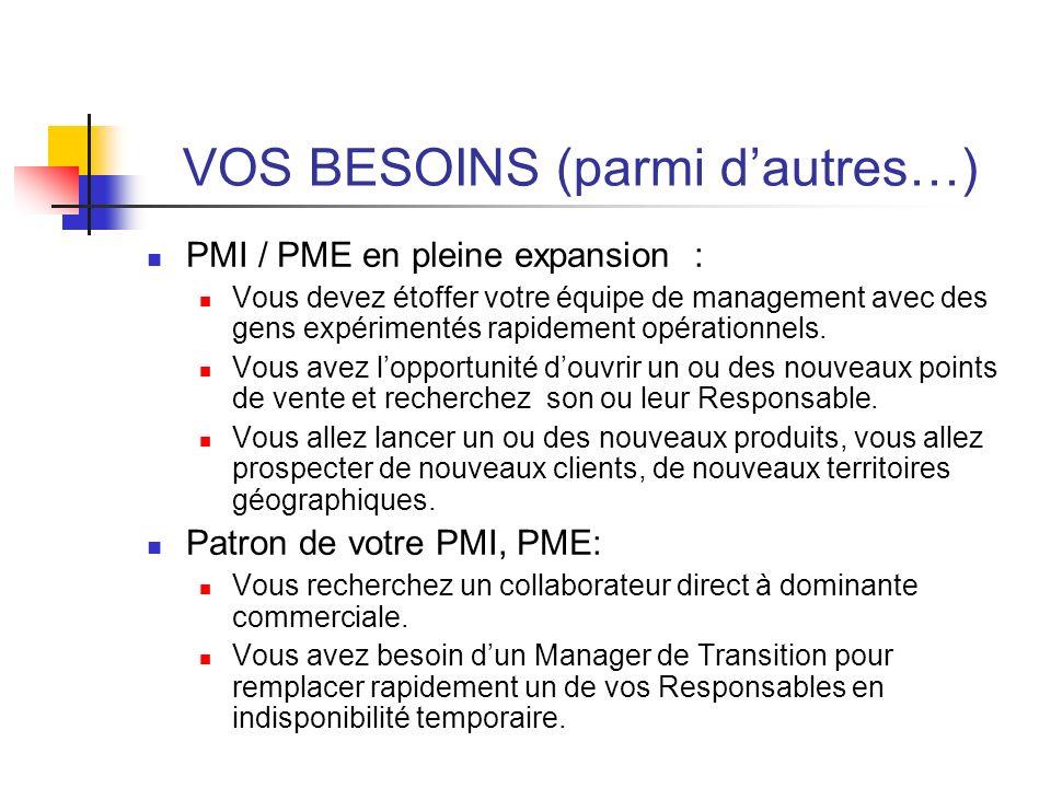 VOS BESOINS (parmi dautres…) PMI / PME en pleine expansion : Vous devez étoffer votre équipe de management avec des gens expérimentés rapidement opéra