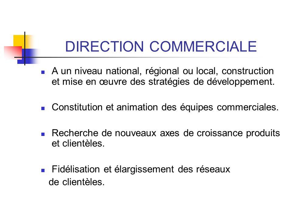 DIRECTION COMMERCIALE A un niveau national, régional ou local, construction et mise en œuvre des stratégies de développement. Constitution et animatio