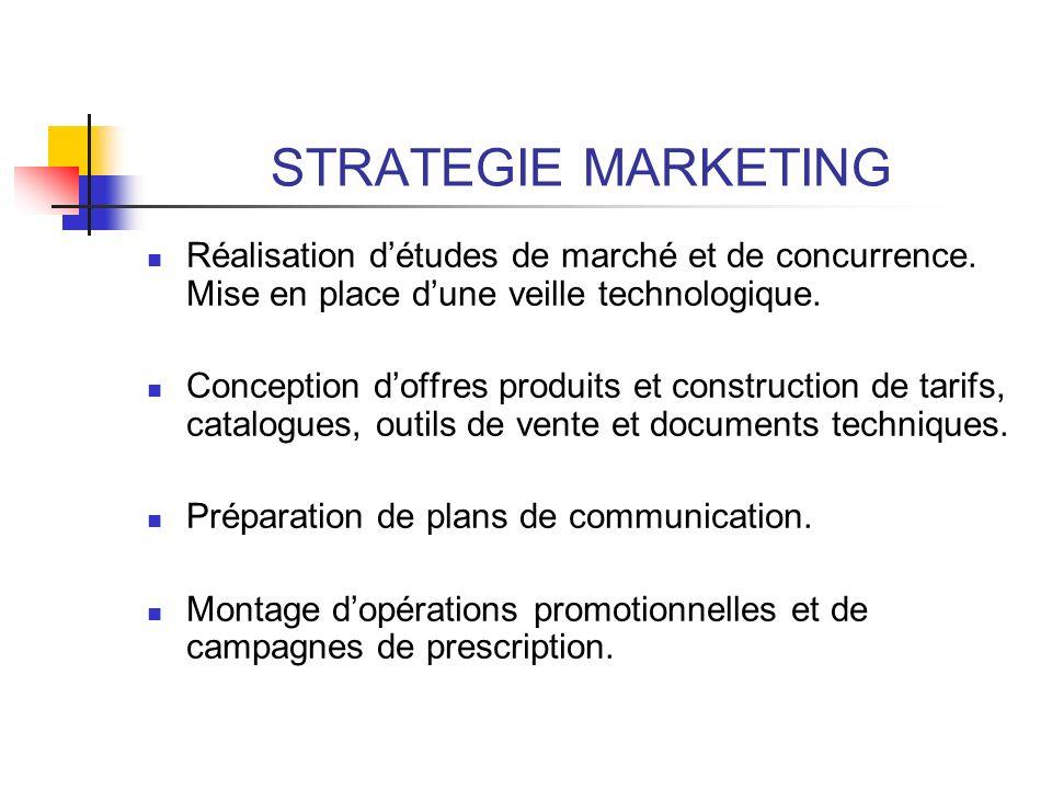 STRATEGIE MARKETING Réalisation détudes de marché et de concurrence. Mise en place dune veille technologique. Conception doffres produits et construct