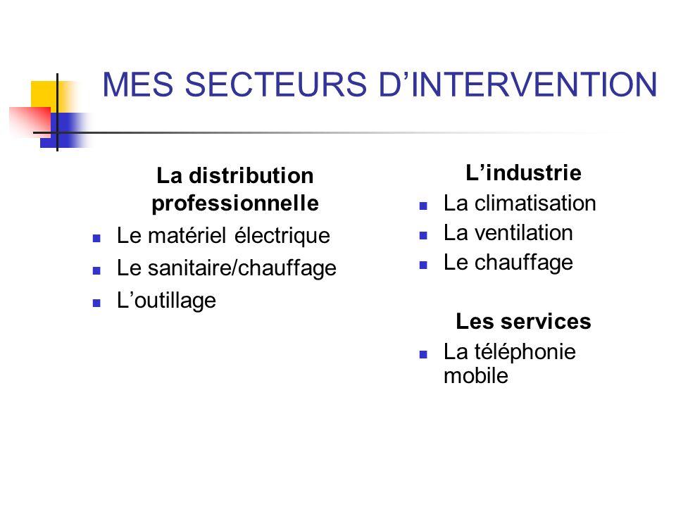 MES SECTEURS DINTERVENTION La distribution professionnelle Le matériel électrique Le sanitaire/chauffage Loutillage Lindustrie La climatisation La ven