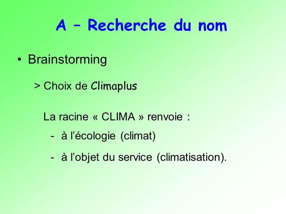A – Recherche du nom Brainstorming > Choix de Climaplus La racine « CLIMA » renvoie : -à lécologie (climat) -à lobjet du service (climatisation).