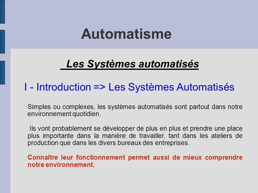 Automatisme Les Systèmes automatisés I - Introduction => Les Systèmes Automatisés Simples ou complexes, les systèmes automatisés sont partout dans notre environnement quotidien.