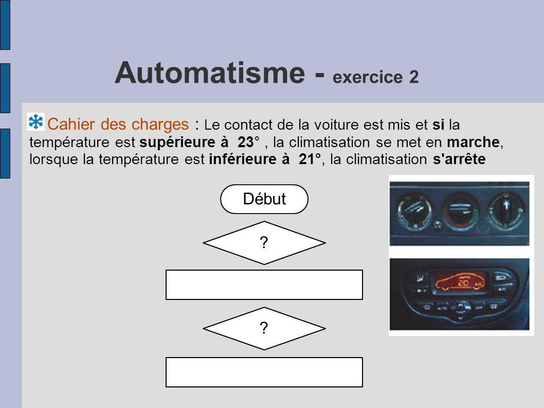 Automatisme - exercice 2 Cahier des charges : L e contact de la voiture est mis et si la température est supérieure à 23°, la climatisation se met en marche, lorsque la température est inférieure à 21°, la climatisation s arrête Début .